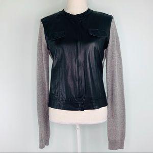Ella Moss Black Vegan Leather & Grey Knit Jacket